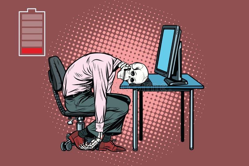 Dead businessman skeleton at the computer. Pop art retro vector illustration stock illustration