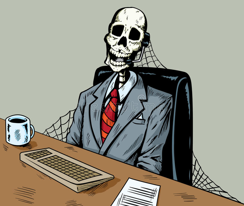 Dead in call centre royalty free illustration