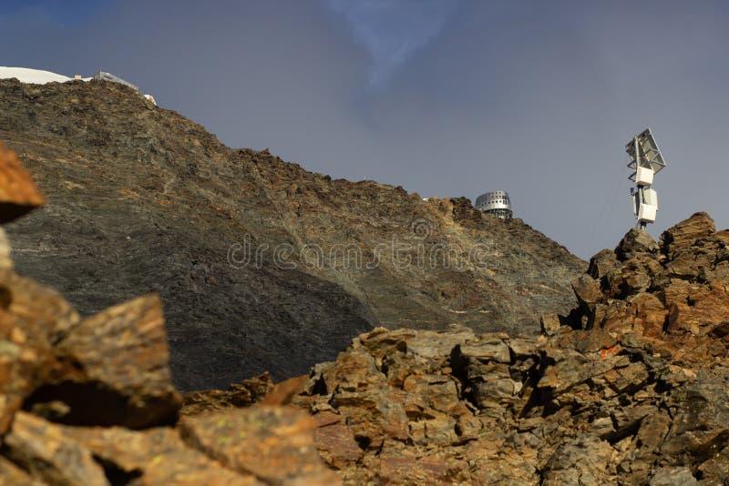 Dead climber monument on Mont Blanc Gouter route, French Alps, France. couloir de la mort.  stock photography