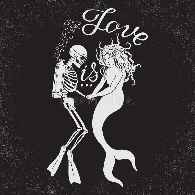 Free Dead Diver With Mermaid And Phrase Love Is. Stock Photo - 61953460