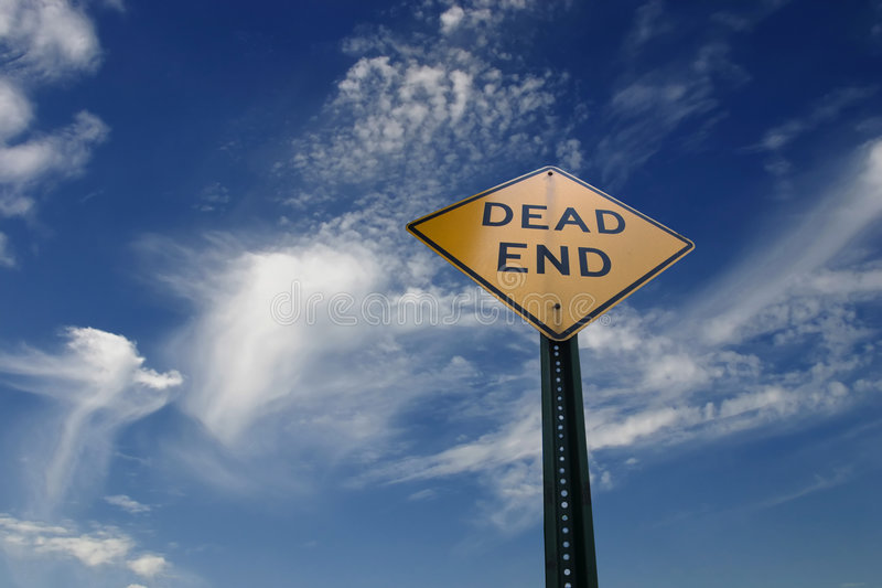 Dead End. Old Dead End sign against a cloudy sky. A way to Heaven royalty free stock photos