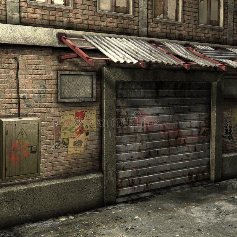 Dead End Alley Scene stock illustration