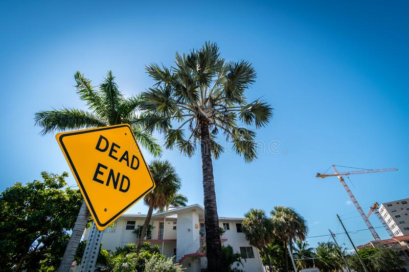 Dead end post sign, Fort Lauderdale, Florida, United States of America. Dead end sign, Fort Lauderdale, Florida, United States of America royalty free stock photos