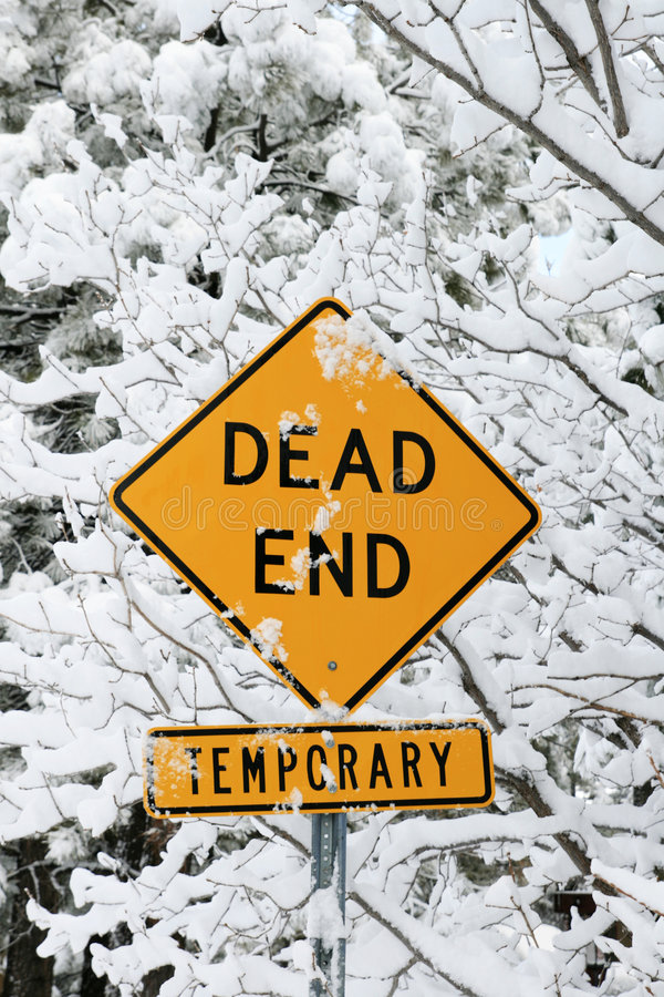 Dead end road sign. In yellow and black with snow and snowy branches royalty free stock images