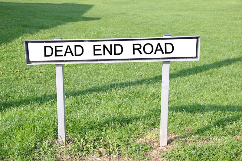 Dead end road street sign. Photo of a street name sign printed with dead end road stock photography