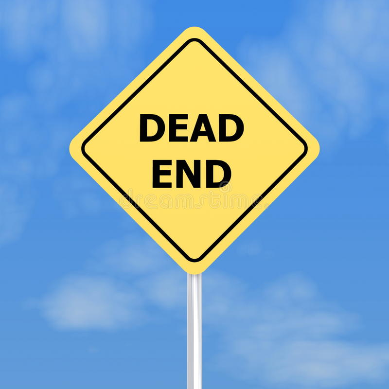 Dead End Sign. With blue sky background stock image