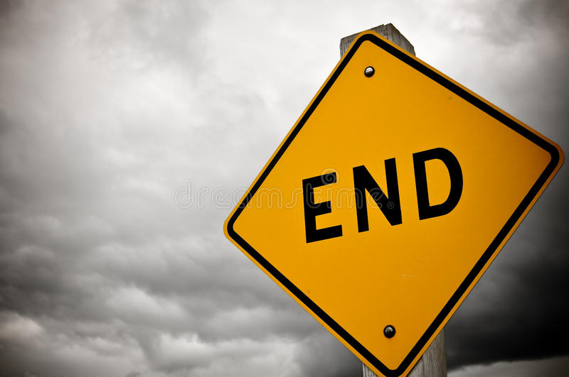 Dead End Sign. Dark and Cloudy Dead End Sign royalty free stock photography