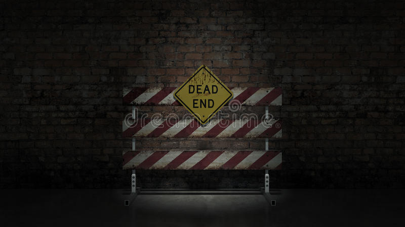 Dead end sign could represent various jobs or relationships royalty free illustration
