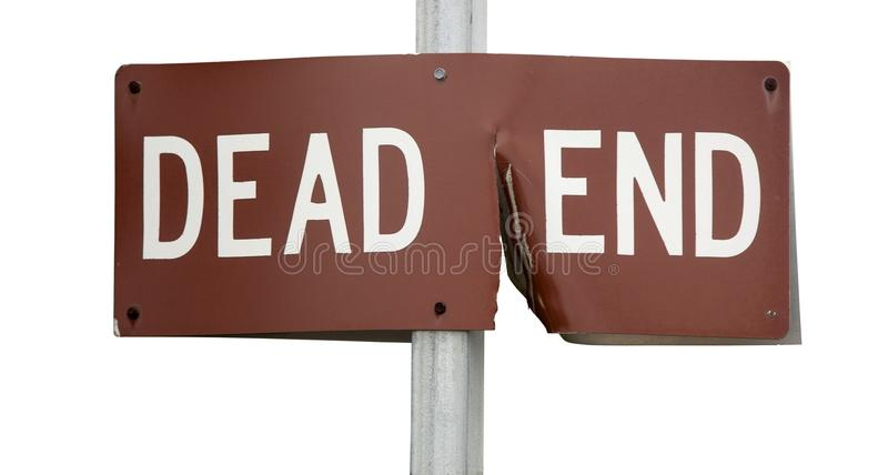 DEAD END Sign. Damaged DEAD END street sign on metal pole. Isolated stock photography