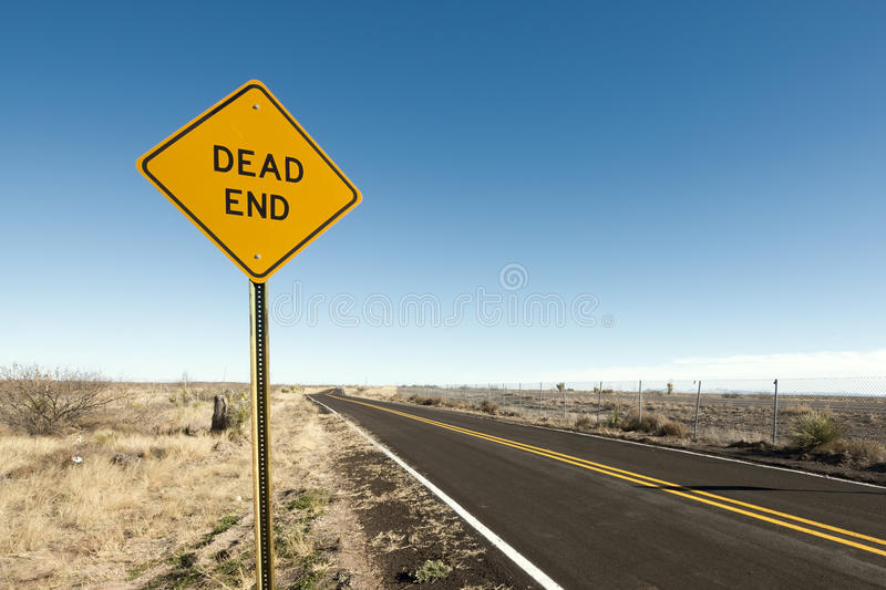 Dead End. Sign in the desert stock photos