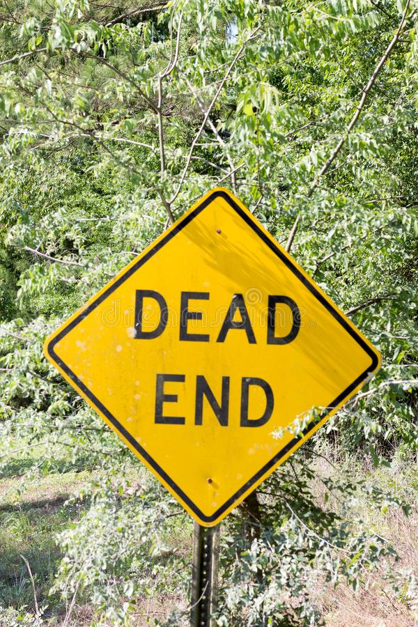 Dead end. Sign on a rural road stock photography