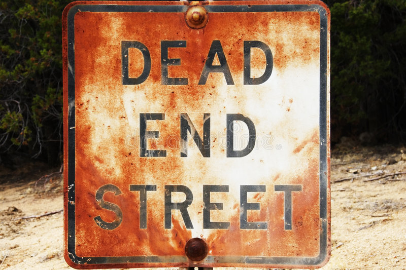 Dead End Street. Rusted and weathered Dead End sign stock photo