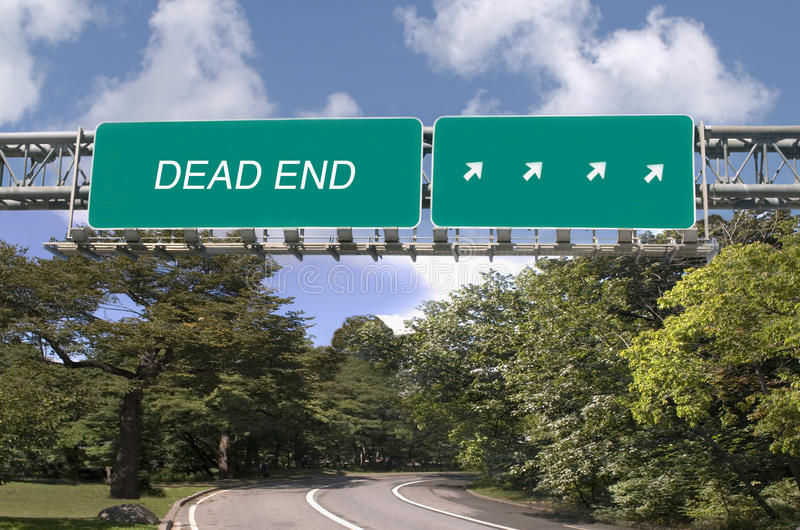 Dead End written on highway sign royalty free stock photos