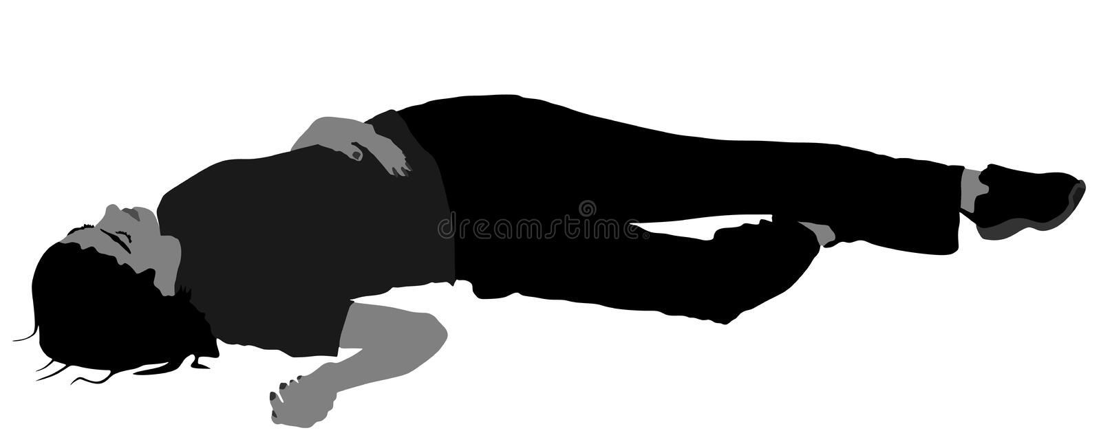 Dead girl lying on the sidewalk silhouette. Drunk girl unconscious after party. Injured lady after car crush accident. Dead girl lying on the sidewalk stock illustration
