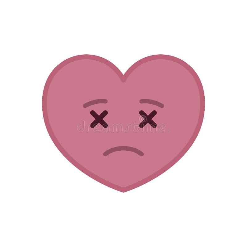 Dead heart shaped funny emoticon icon stock illustration
