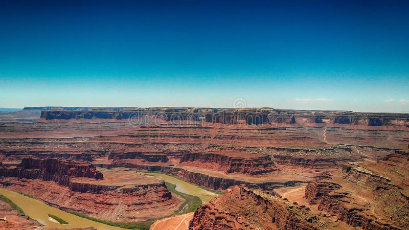Dead Horse Point aerial view, Utah. Colorado river across mountains royalty free stock image
