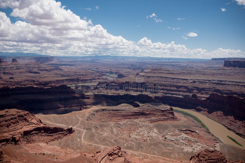 Dead Horse Point State Park aerial overlook in Utah. Colorado River in photo royalty free stock photo