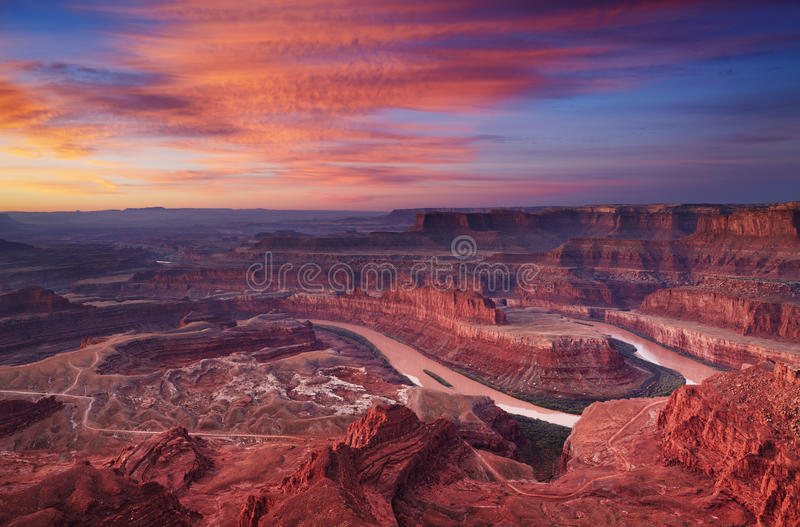 Dead Horse Point, Utah, USA. Colorful sunrise at Dead Horse Point, Colorado river, Utah, USA stock photography