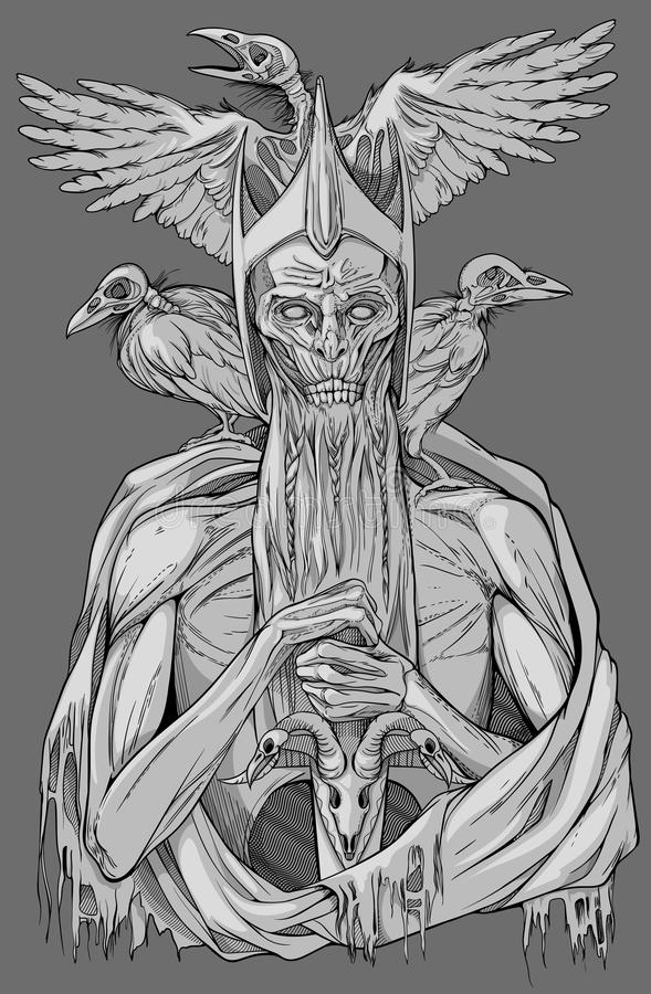 Dead king with birds. Grayscale image of dead king with birds stock illustration