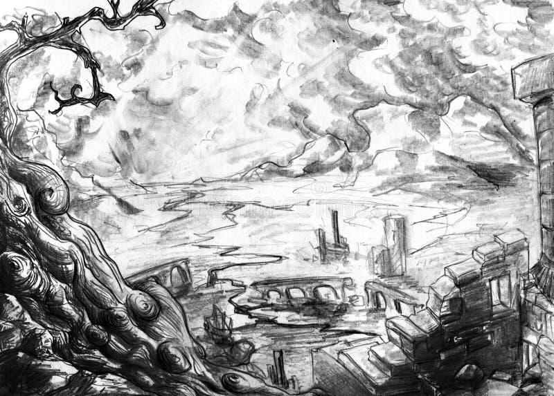 Download Dead land stock illustration. Image of cracks, pencil - 19766067