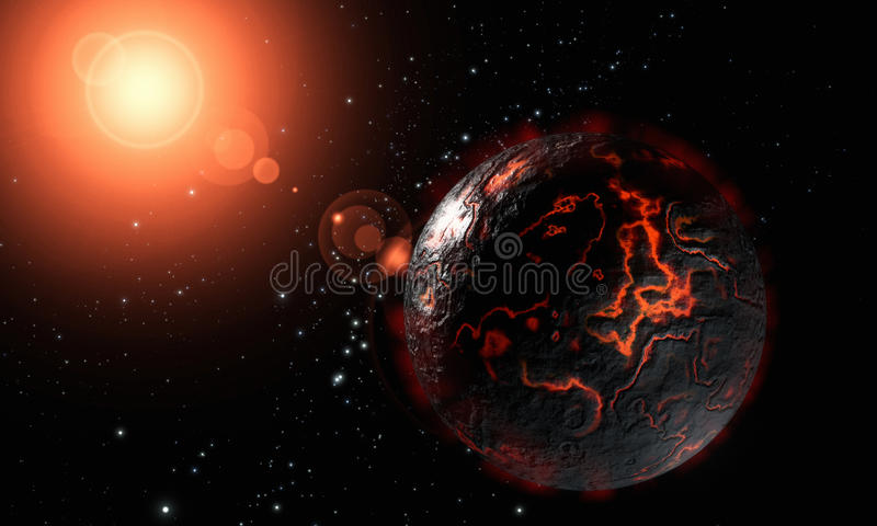 Dead lava planet in cold sapce royalty free stock photography