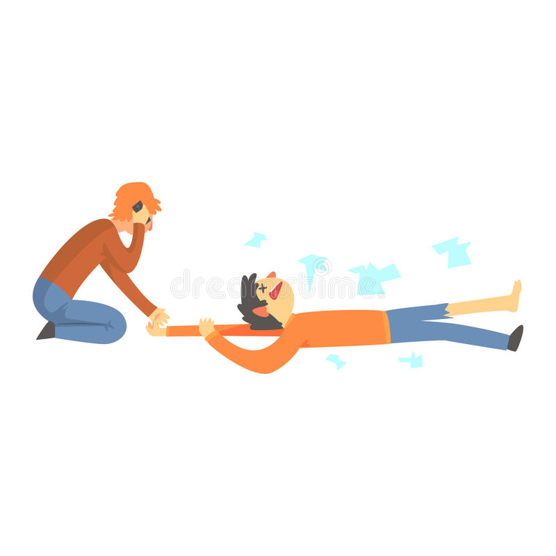 dead man after a car accident woman calling the emergency service rh dreamstime com cartoon dead person clipart Cartoon Dead Pig