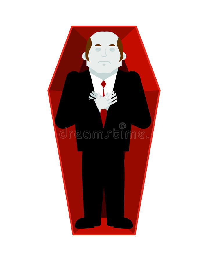 Dead man in coffin isolated. corpse in casket on white background. Religion illustration. Deceased.  royalty free illustration