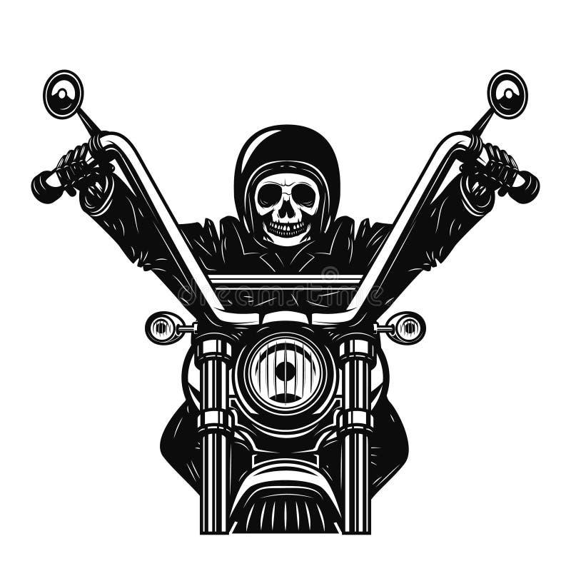 Dead man on the motorcycle. Motorbike racer. Design element for poster, emblem, sign. Vector illustration royalty free illustration