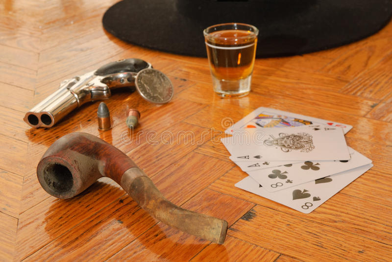 Dead man's hand. Believed to be the hand held by Wild Bill Hickok when he was assisinated stock photo