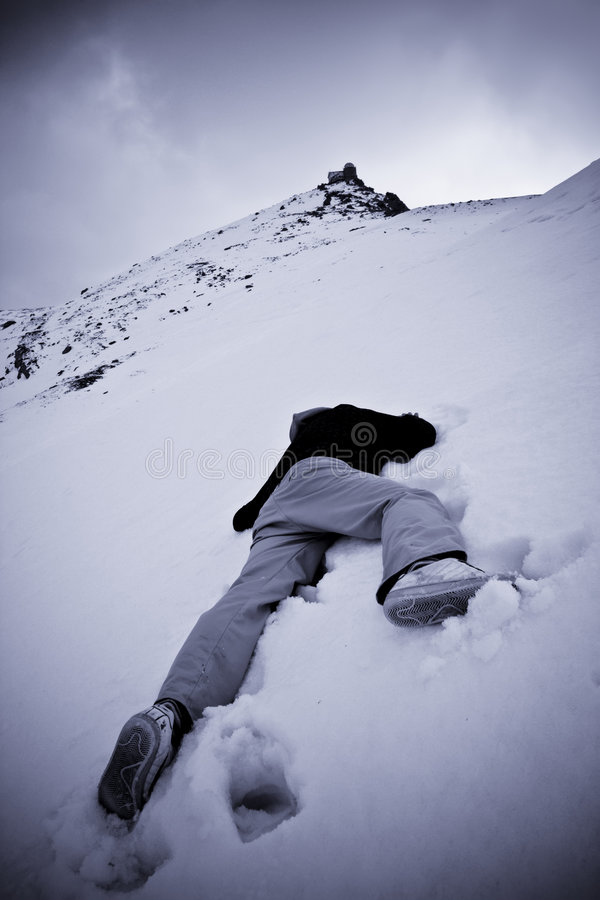 Dead Man At The Snow Stock Photo. Image Of Down, Hills