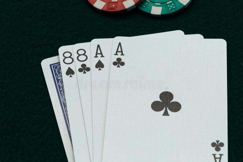 Dead Mans Hand. Dead man hand, the poker cards supposedly held by Wild Bill Hickok at moment of his murder stock images