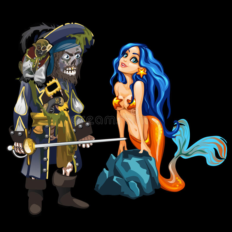 Dead pirate and cute mermaid, cartoon character stock illustration