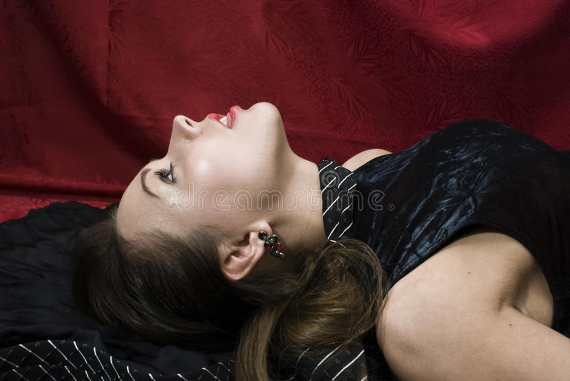 Dead pretty woman royalty free stock photography