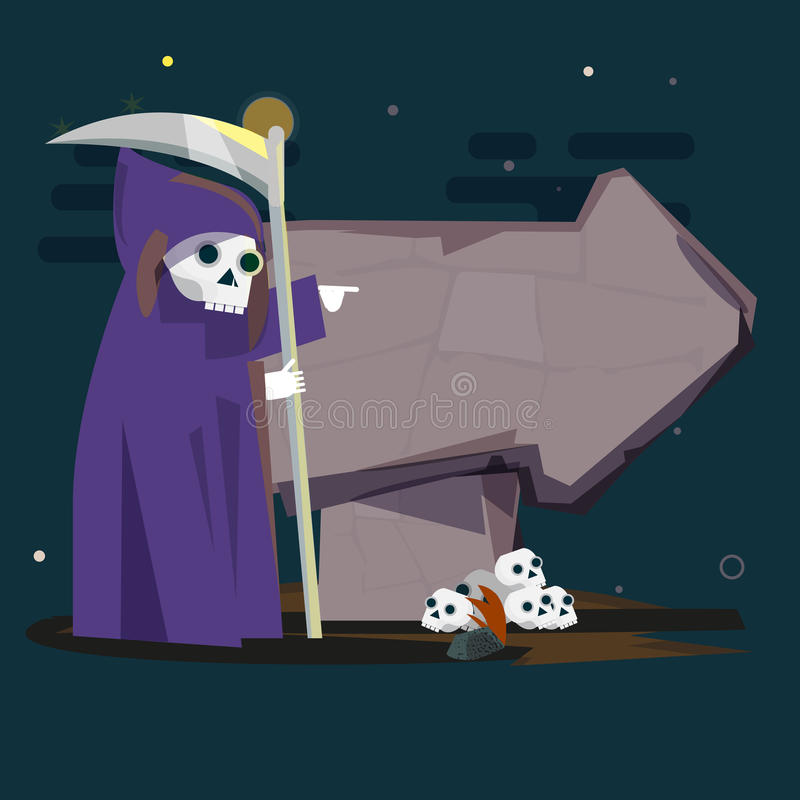 Dead reaper with stone arrow. point to dead way concept - vector illustration