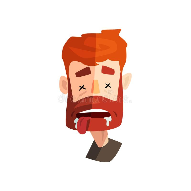 Dead redhead bearded man, male emotional face, avatar with facial expression vector Illustration on a white background vector illustration