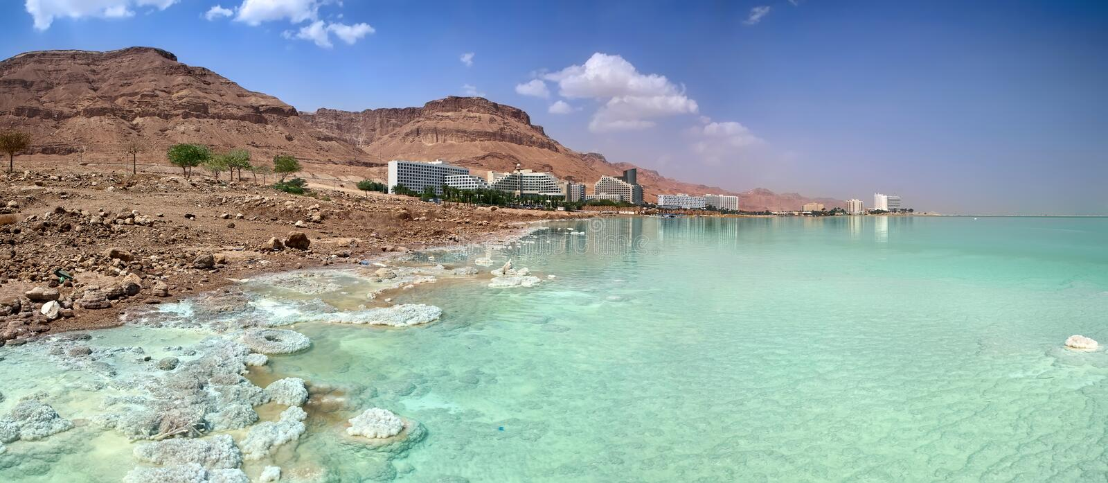 Dead Sea coast. Hotels. Israel royalty free stock photos