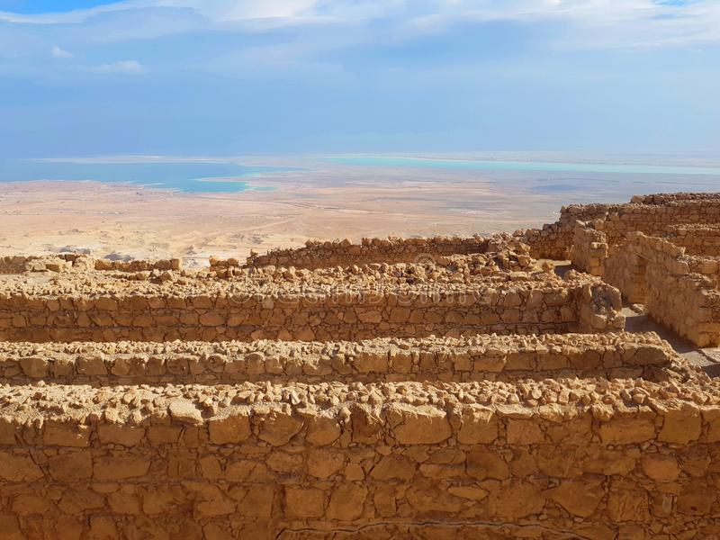 The Dead Sea and desert panoramic view from Masada fortress, Israel stock image