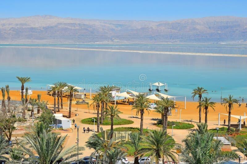 Public beach at the resort Ein Bokek, Dead Sea, Israel royalty free stock images