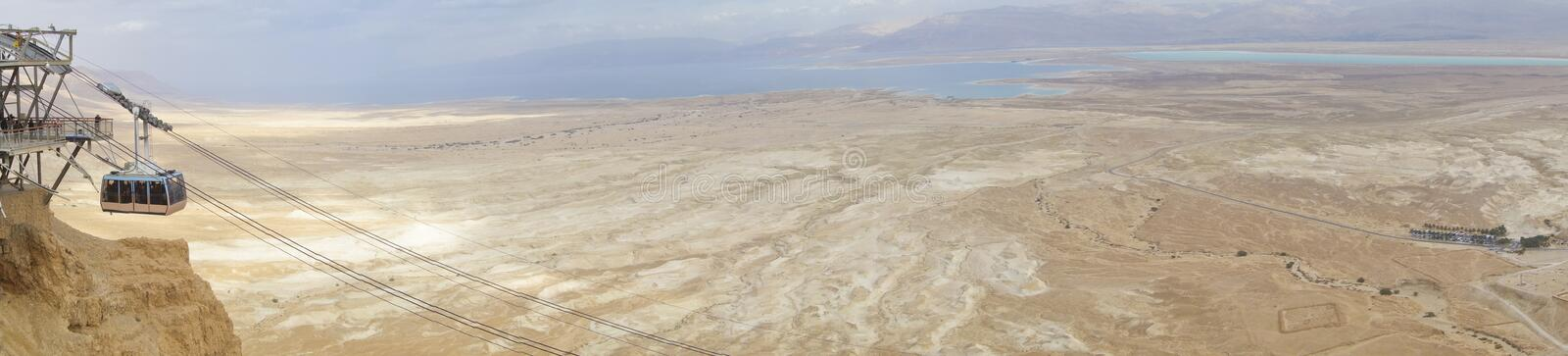 Dead Sea During Winter with Masada Tram royalty free stock photo