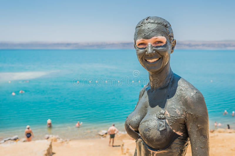 Dead sea mud body care treatment jordan stock photo