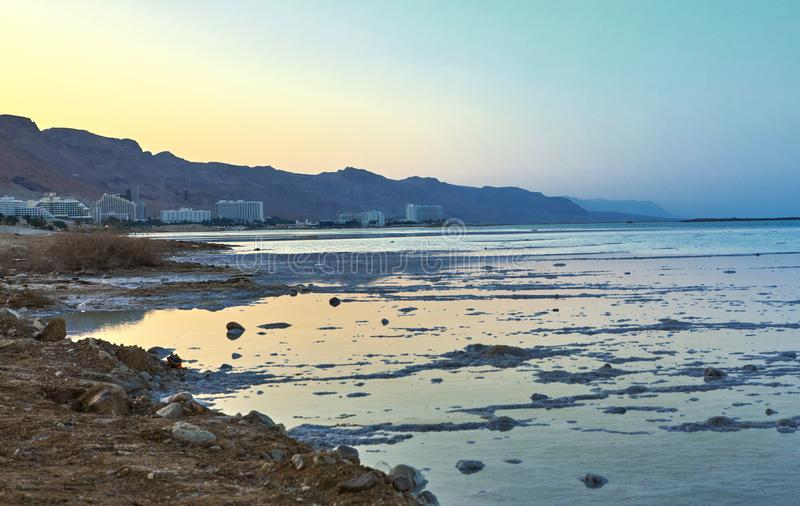 Dead Sea, is a salt lake bordering Jordan to the north, and Israel to the west stock photo