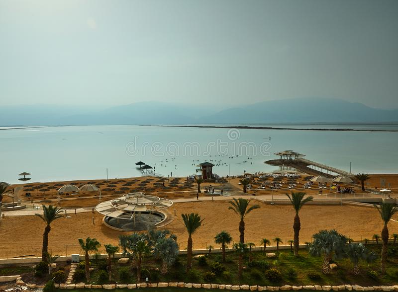Dead Sea, is a salt lake bordering Jordan to the north, and Israel to the west. Its surface and shores are 430.5 metres 1,412 ft below sea level, palestine royalty free stock photography