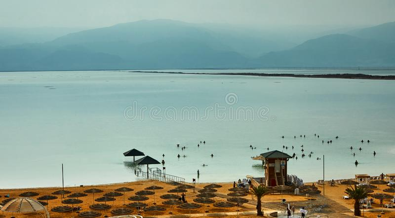 Dead Sea, is a salt lake bordering Jordan to the north, and Israel to the west. Its surface and shores are 430.5 metres 1,412 ft below sea level, palestine stock photography