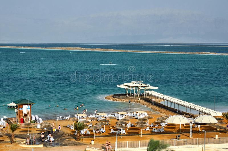 Dead Sea, is a salt lake bordering Jordan to the north, and Israel to the west. Its surface and shores are 430.5 metres 1,412 ft below sea level, palestine royalty free stock photo