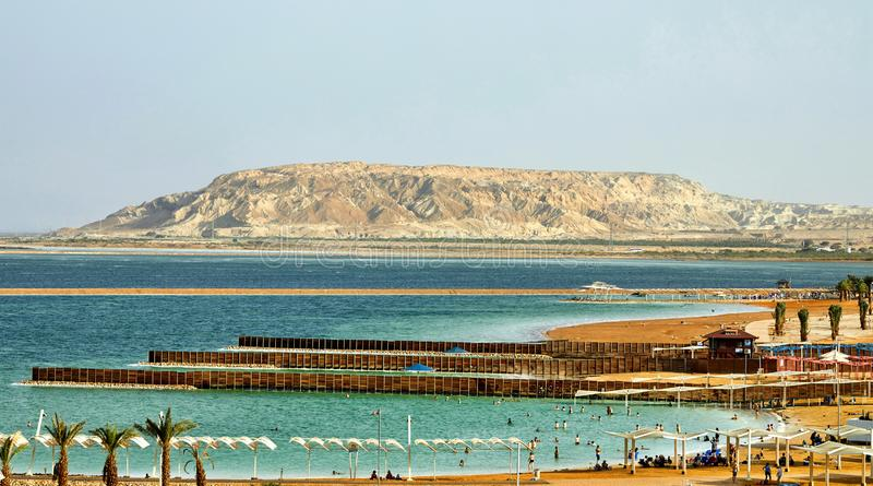 Dead Sea, is a salt lake bordering Jordan to the north, and Israel to the west. Its surface and shores are 430.5 metres 1,412 ft below sea level, palestine royalty free stock image