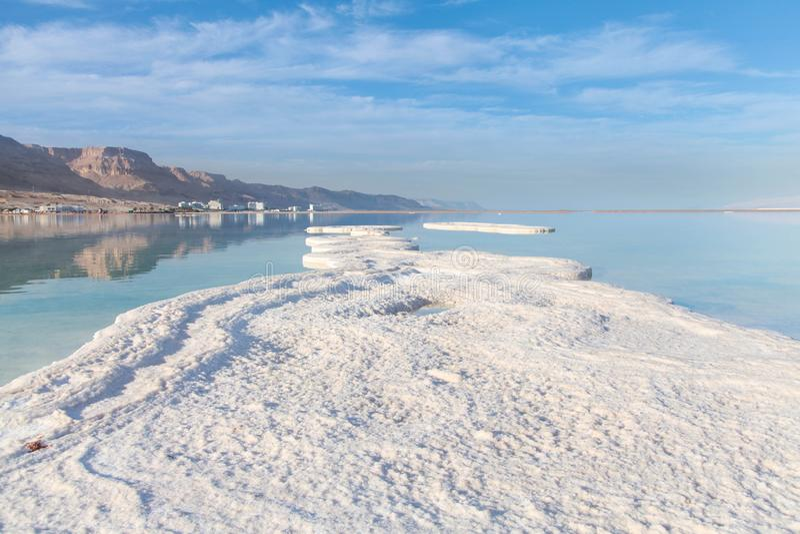 Dead sea salt shore. Israel. stock photos