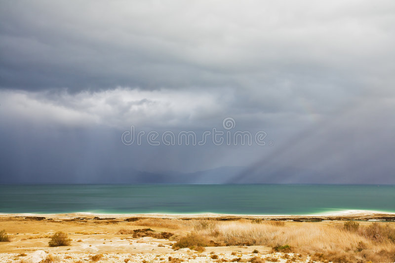Download The Dead Sea During A Spring Thunder-storm Stock Photo - Image: 8782806