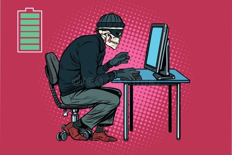 Dead skeleton hacker hacked computer vector illustration