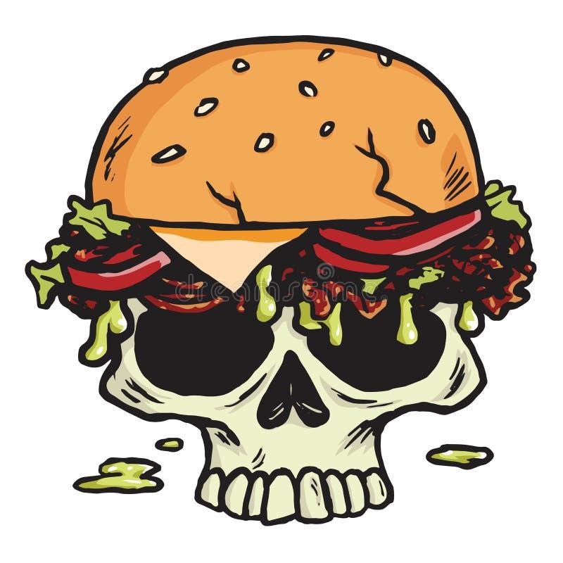Dead Skull Burger, Hamburger Fries Vector Illustration stock illustration
