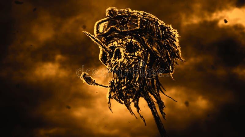 Dead soldier head in helmet on metal pin. Black and white color. Dead soldier head in helmet on metal pin. Zombie war is over. Dark sky background. Genre of vector illustration
